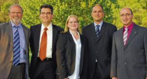 Die Kandidaten (von links): Jürgen Olma, Antonio Moscato, Sandra Nitsch, Jean-Aref Zwar und Noch-Bürgermeister Michael Reinert